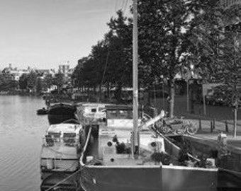 Amsterdam Barge, Cityscape Of Amsterdam Canals In The Netherlands. Black & White Photography Picture, B And W Art Prints Framed / Unframed
