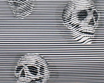 Between the Lines, Black and White skulls cotton fabric by Alexander Henry