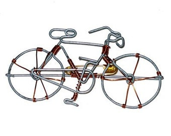 Bicycle Pin Handcrafted From Recycled Telephone Wire