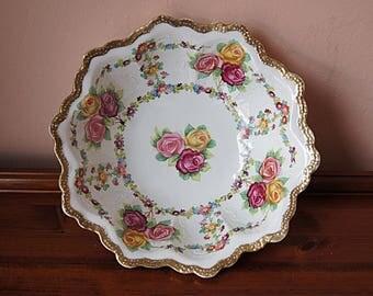 Vintage  Ceramic  Floral Bowl, Hand Painted  Bowl From Austria, Made  O & EG Royal Austria.