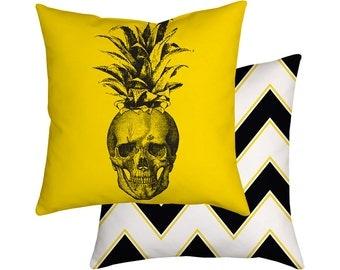 Pillow Cushion Pineapple Skull Chevron Black And White