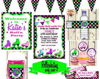 Printable Birthday roller skating  Party pack/invitation/hand sanitizer/water bottle label/ treat bag topper