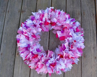 Pink Ribbon Rag Wreath, Pink Ribbon Wreath