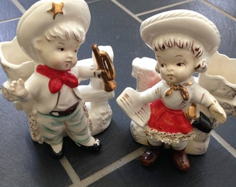 Cowboy and Cowgirl Figurine Bud Vases from Japan
