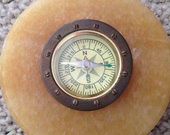 Circular Stone Surround Compass Paperweight