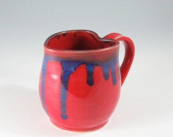 Handmade Heart Shaped Pottery Mug,Ceramic mug,Valentine ceramic mug,Valentine Mug,Red Valentine Pottery,coffe mug,pottery mug,Valentine Gift