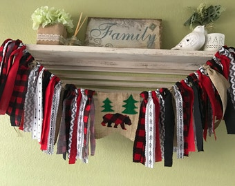 Lumberjack baby shower party banner Red Buffalo Plaid burlap highchair banner party decor Baby shower First Birthday Rag Garland Banner