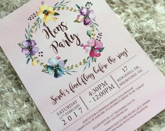 Printable Hens Party Invitation, Bridal Shower Invitation, Printable Bachelorette Party Invitation, Hens Invite - Floral Watercolour