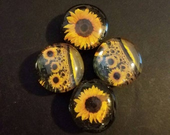 Set of 4 Strong Glass Flower Magnets; Colorful, Nature, Floral, Sunflower Field, Refrigerator Magnets, Fridge Art, Kitchen, Office Decor