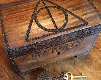 Cute lockable ring box, Harry Potter inspired, deathly hallows, keepsake box, secret box