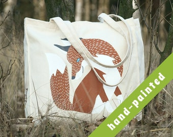 hand painted bag, fox tote, fox tote bag, Cotton tote bag, Eco bag, tote bag, fox, canvas bag, fox bag, fox tote bag, fox purse, fox tote