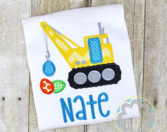 Easter Bunnies Boys Construction Crane Monogrammed/Personalized Shirt