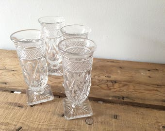 Imperial Glass Cape Cod Clear Crystal Parfait Glasses ,Wedding Gift, New Home Gift, Great for Ice Cream Sundaes, Free Shipping