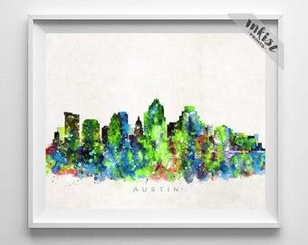 Austin Skyline Print, Texas Print, Austin Poster, Watercolor Art, Wall Decor, Skyline, Giclee Art, Living Room Decor, Dorm Decor