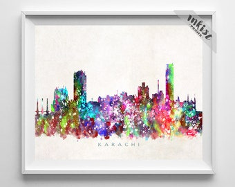 Karachi Skyline Print, Pakistan Print, Karachi Poster, Cityscape, Watercolor Painting, City Skyline, Wall Decor, 4th of July