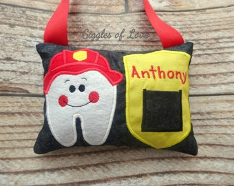 Personalized Tooth Fairy Pillow - Boy Girl Tooth Pillow - Fireman Fire Fighter