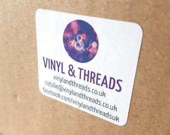 Business Card Stickers - Small Business Labels - Packaging Stickers - Contact Card Stickers - Logo Stickers - 15 Stickers (40mm x 36mm)
