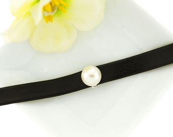 925 Sterling Silver Freshwater Pearl Leather Choker