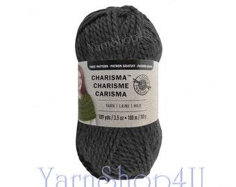 CHARCOAL Bulky Charisma Loops and Threads Yarn. Dark Grey Chunky Yarn. Soft Acrylic yarn Great for Hat, Scarf, Afghan, Loom. 3.5oz 109yd