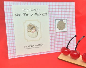 Peter Rabbit Beatrix Potter Mrs Tiggy-Winkle 50p coin personalised new baby christening children card