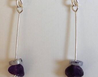 Amethyst & Opal sterling silver earrings