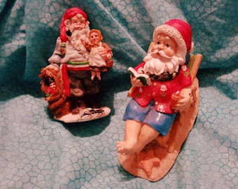 Two Charming Vintage Small Santa Claus Figurines