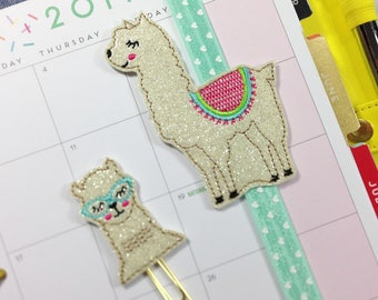 Embroidered Glitter Planner Set, Geeky Llama Planner Accessories, Llama Bookmark, Animal Paperclips, Bookmark, Paperclips