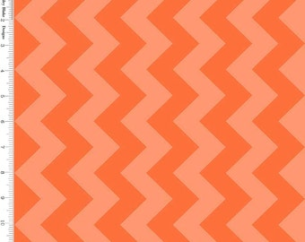 Tone on Tone Orange Chevron Fabric, Riley Blake C380-61 Medium Chevron Orange, Chevron Quilt Fabric, Halloween, Cotton