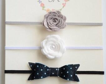 Baby Bow/ Baby Headband/ Baby Girl Headband/ Headband Set / Dainty Headband / Little Bows / Baby Flower Headband / Bow on Headband