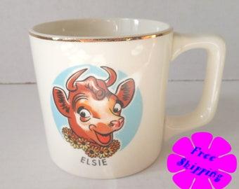 Vintage Mid Century Elsie the Cow Cup//Universal Cambridge Pottery//22K Gold Rim//Vintage Advertising//Borden Dairy