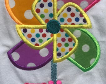Personalized Summer Pinwheel Shirt Machine Embroidered/Appliqued