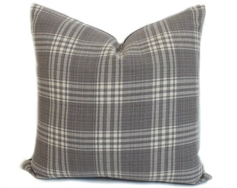 Gray pillow cover, Plaid pillow, Decorative pillow, Gray throw pillow, Accent pillow, Sofa cushion, 16x16, 18x18, 20x20, 22x22, 24x24, 26x26