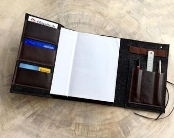 Organizer calendar notebook wool felt & leather, Black/Brown