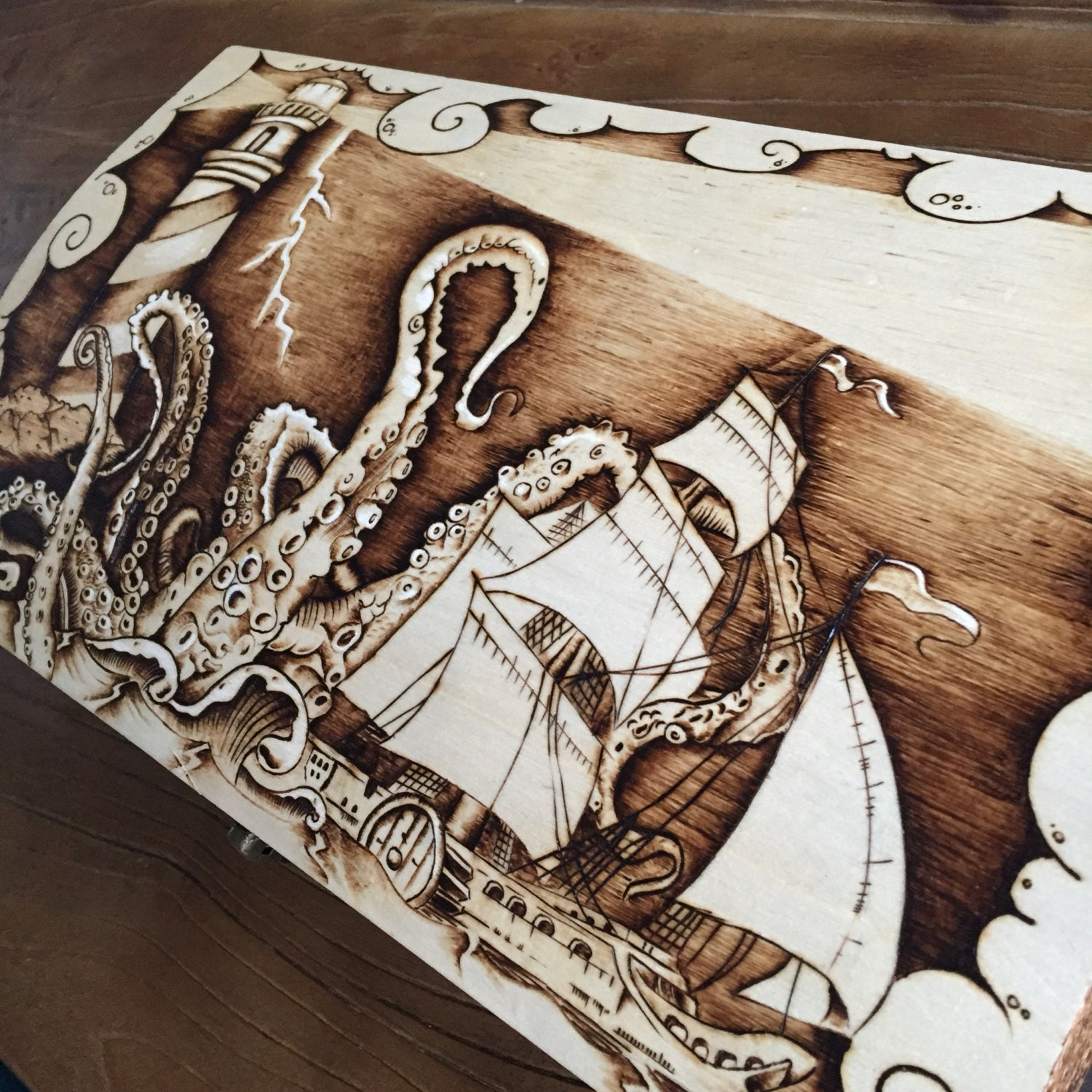Pyrography Nautical Wine Box Ooak Wood Burned Art Octopus