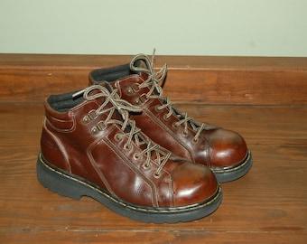 Men Size 11 US 10 UK Vintage Dr Martens Brown Leather Boots