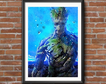 Groot Guardians of the Galaxy Digital Art Watercolour Printable Art Downloadable Print