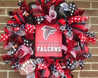 Falcons Wreath, Atlanta Falcons Wreath, Falcons Door Wreath, Mesh Atlanta Falcons Wreath, Atlanta Falcons Door Wreath