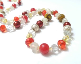 Gemstone Jewelry, Beaded Necklace, Handmade, Custom Jewelry, Fashion Jewelry, Red, Jewelry, Necklace, Gemstones, Statement Necklace, Red.