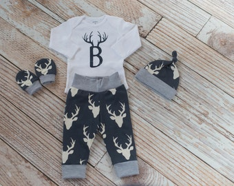Personalized Newborn Coming Home Deer Navy Grey Outfit with Antlers on Initial