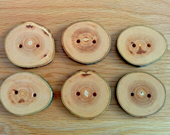 6 Handmade Wooden Buttons 40-45mm With Bark Tree Branch Buttons Sewing Knitting Craft UK Seller