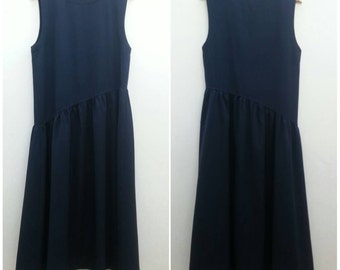 Vintage 1992s COMME des GARCONS tricot Navy blue Asymmetrical dress / Size M