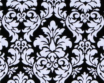 Dandy damask by Michael Miller.  100% Premium designer cotton - black and white damask, fabric by the yard, quilting fabric