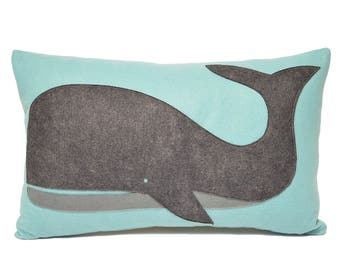Grey & Aqua Whale lumbar pillow, wool throw pillow, coastal home, lumbar, cape cod, beach house decor, gift, handmade, The Salty Cottage