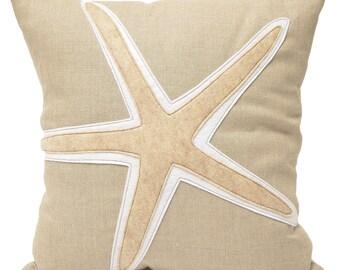 16x16 Starfish wool on linen pillow, home decor, beach house, nautical, sea life, coastal, kids room, throw pillow, The Salty Cottage