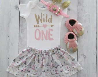Wild One Birthday Outfit - feather skirt, pink gold, girl first birthday, aztec, pow wow, moccasins, feather headband, teepee