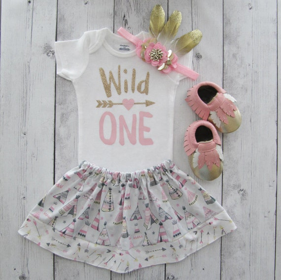 Wild One Birthday Outfit Feather Skirt Pink Gold Girl