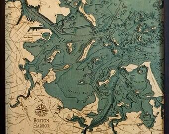 Boston Harbor Wood Carved Topographic Depth Map