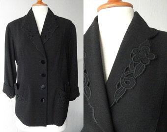 Black 40s Wool Crepe Vintage Jacket With Flowers