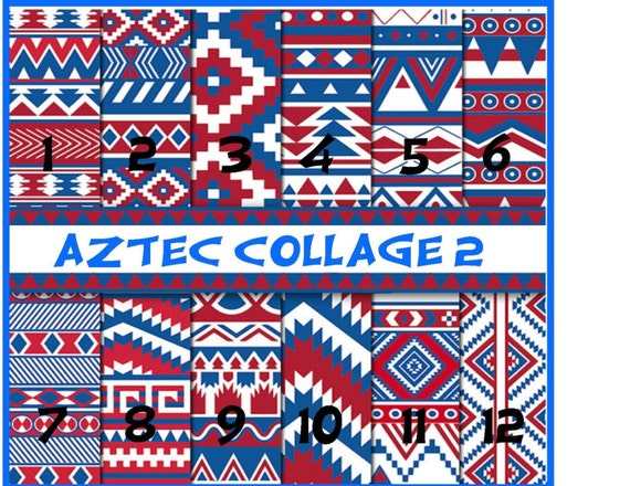 Aztec Collage 2 Prints Mexican Red White Blue 4th of July Adhesive Vinyl, HTV or Glitter HTV. Choice of 3 sizes. 6x6, 6x12 or 12x12