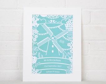 Personalised Wedding Gift, Windmill Print, Wedding Gift, Custom Wall Art, Mr & Mrs Print, Personalized Print, Anniversary Gift, Home Decor